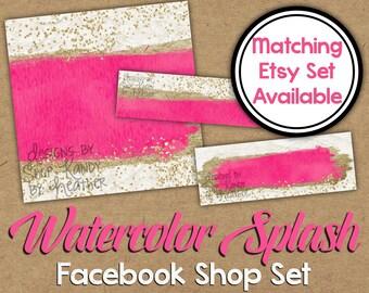 Watercolor Facebook Shop Set - DIY Glitter Facebook Timeline - Pink Watercolor Timeline Cover - Facebook Shop Banner - Facebook Shop Image