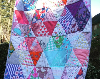 Colourful bespoke personalised modern vintage heirloom quilt, single bed size