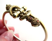 Antique Victorian Rose Gold Filled Etruscan Snake Bangle Bracelet - Ruby Red Rhinestones - Hinged Clamper - Very Unusual