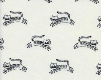 Big roar in white from the sleep tight fabric collection by Sarah Watts for Cotton and Steel  - 2045-01