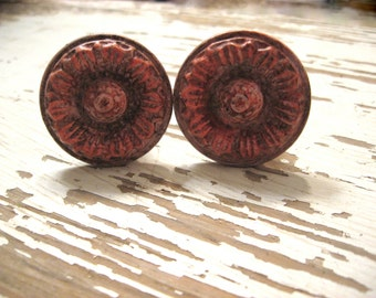 2 Floral Knobs Bohemian Style Antiqued Pinks Flower Shape Antiqued Brass Whimsical Hardware B-11