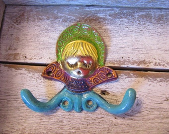Whimsical Brass Doll Wall Hook One of a Kind Design Colorful Vintage Hand Painted Russian Doll Double Hook H-17