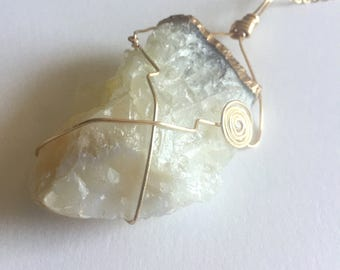 White Raw Quartz Necklace Pendant with Gold Dipped Edge, Festie Jewelry, Boho Style, Healing Crystal Gemstone