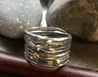 Sterling Birds nest ring with 18kt gold accents