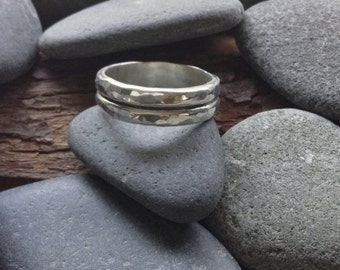 Hammered double banded sterling ring