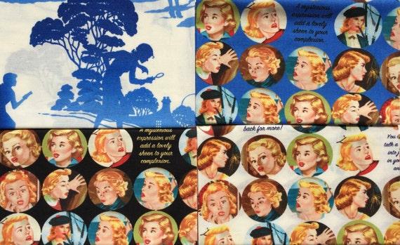 Get a Clue Nancy Drew moda fabric 4 FQ set #2 OOP HTF Please Read