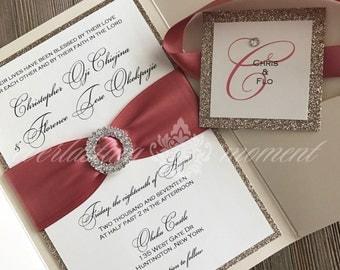 Elegant Double Rhinestone Circle and GLITTER pocket folder wedding Invitation, champagne, ivory, elegant, white wedding, traditional wedding