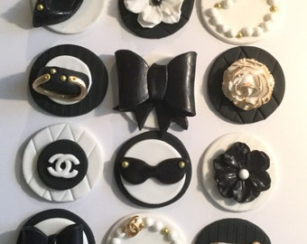 Fondant Designer Black and White Fondant Cupcake, Cake, Cookie Toppers. Set includes 12