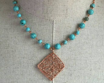 Turquoise and Copper Knit Necklace