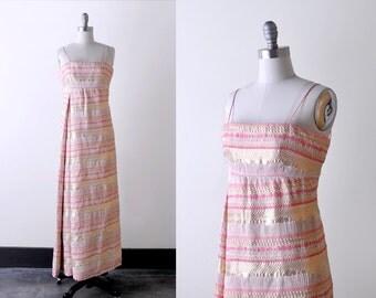 1960 metallic dress. 60's pink evening gown. maxi. xs. silver striped. brocade.