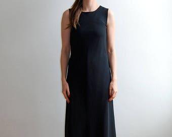 vintage long black sleeveless dress