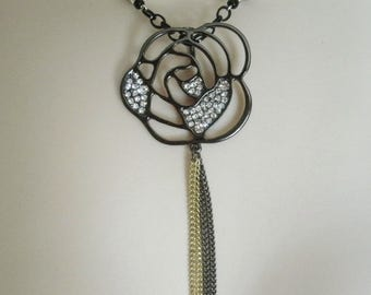Rose Necklace, gothic jewelry victorian jewelry art deco jewelry rose jewelry art nouveau edwardian neo victorian necklace gothic necklace