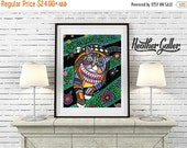 50% Off Today- Tabby Cat Folk art  Poster Print of painting by Heather Galler  (HG863)