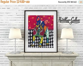 50% Off Today- French Bulldog Art  Art Print Poster by Heather GallerPainting PRINT (Hg450)