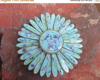 On Sale Vintage Blue speckled Floral Enamel Pin Brooch 1960s