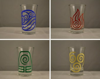 Set of 4 Avatar: The Last Airbender Vinyl Design Shotglasses