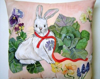 Rabbit in the Garden Pillow 14x14 Hand Painted Original Art Charming Spring Easter Birthday Accent - Colorful Whimsical White Rabbit Scene