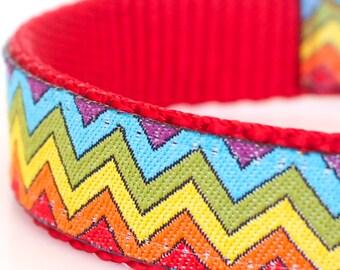 Rainbow Chevron Dog Collar, Adjustable Ribbon Dog Collar, Boho