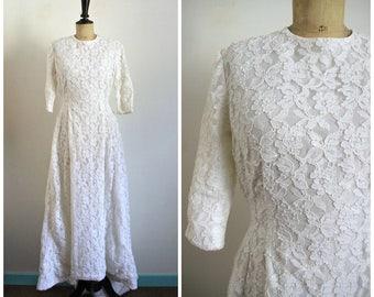 Vintage Années 60 Robe de Mariée Longue en Dentelle Blanche / Taille S-M
