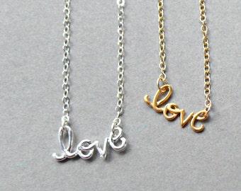 Cursive Love Charm Necklace, Cursive Necklace, Gold Cursive Necklace, Silver Cursive Necklace, Love Necklace, Word Necklace