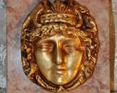 Neoclassical - Goddess on Pink Marble Paperweight- Sculpture - Greek - Roman - Bust - Figural - Face - Gilt - Medallion - Gold - Ormolu