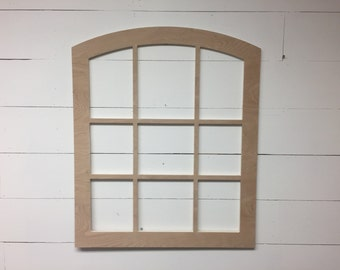 Unfinished Vintage Inspired 30x35 Window Frame Curved Top