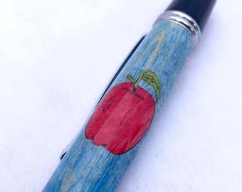 Teacher Pen * Wood Pen * Apple Inlay Ballpoint Pen * Gifts for Teacher * Birthday gifts * Gifts for Principal * School