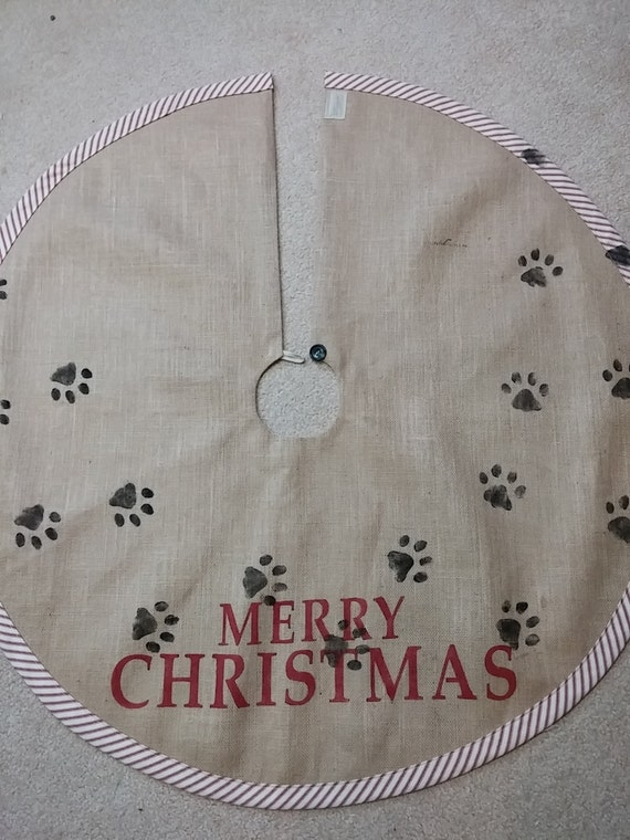 dog tracks burlap tree skirt