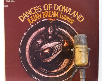 """ON SALE Julian Bream Vinyl Record 1960's Retro Lute John Dowland Music """"Dances of the Dowland"""" (1970s Red Seal RCA re-issue w/""""Lachrimae Ant"""
