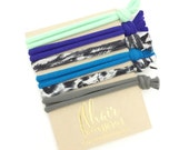 Softest Hair Ties in Cool Blue Colors and Neutrals No Crease Gentle Knotted Hair Ties