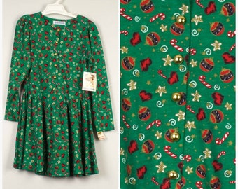 Medium 10 12 girls Green Red Christmas Dress new deadstock Girl Holiday Outfit 90s Vintage drop waist novelty print Christie Brooks dress