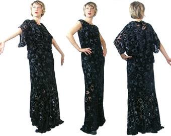 1930s Black Silk Burnout Devoré Velvet Gown with Jacket Size Large