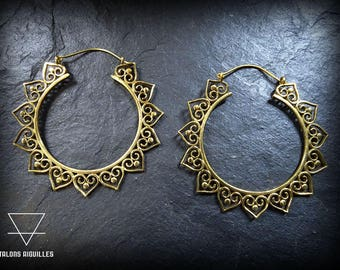 Larges Boucles d'oreille ethniques gypsy laiton  # large brass earrings # tribal hoop # ethnic earrings # indian style earrings 73-778