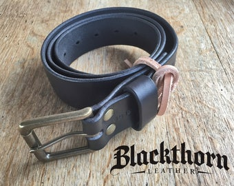 "Men's Black Leather Belt, Rustic Leather Belt, - 1.5"" wide with solid brass roller buckle"