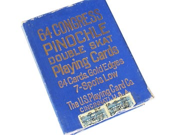 1911 Congress 606, 64 Congress Pinochle Playing Cards, U.S. Playing Card Co., Antique Pinochle Cards