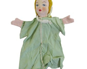 1950s Hand Puppet, Hand Made, Hand Painted - Girl, Maiden, Princess
