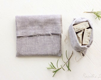 "Ready to ship - Set of 5 grey linen gift bags 6""x8"""