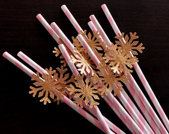 Pink and Gold Party Decorations.  Handcrafted in 2-5 Business Days.  Snowflake Straws 10CT.  Winter Onederland Birthday.