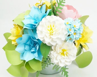 Office decor - Table Decoration - Floral composition - Pastel Dream - Paper Flowers  - Made to Order - Customize your style and colors