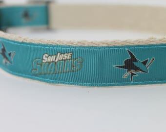 San Jose Sharks hemp dog collar or leash