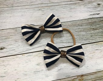 Nautical Navy and White Striped Hair Bow for Girls and Babies