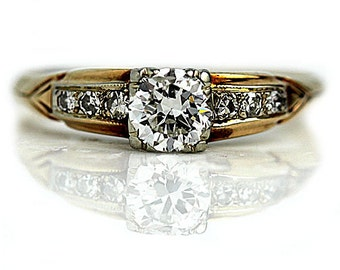 1940s Antique Engagement Ring .62ctw Vintage Engagement Ring Old European Cut Diamond in 14kt Two Tone Ring Vintage Ring