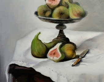 Original Oil Painting, Still Life with Figs, Contemporary Realism