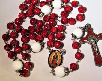 Deep Red and White Rosary