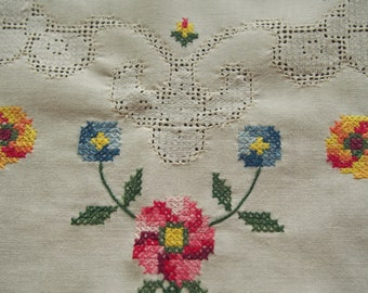 Vintage Tablecloth Tea Cloth Luncheon Embroidered Drawn Thread Off White 32 x 32