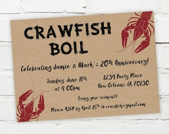 Printable Digital File - Crawfish Boil Invitation - Customizable - Kraft Paper, Engagement Party, Birthday, Shower, Crayfish, Seafood, South