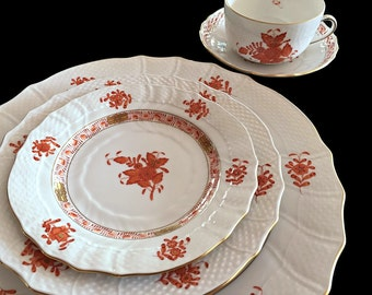 Herend China Dinnerware 20pc Set Porcelain Tableware Chinese Bouquet Rust
