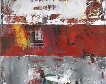 Chaperone Gray Red White Abstract Painting Modern Art