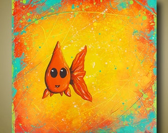 Cute Goldfish Original Painting - Orange Yellow Painting - Fish Art - Bathroom Art - Square Painting 18x18 by Britt Hallowell
