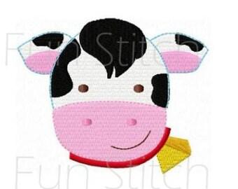 Farm cow face machine embroidery design digital pattern
